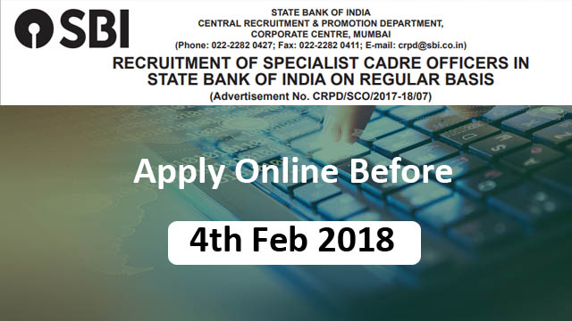 SBI Recruitment 2018 of Specialist Cadre Officers on Regular Basis