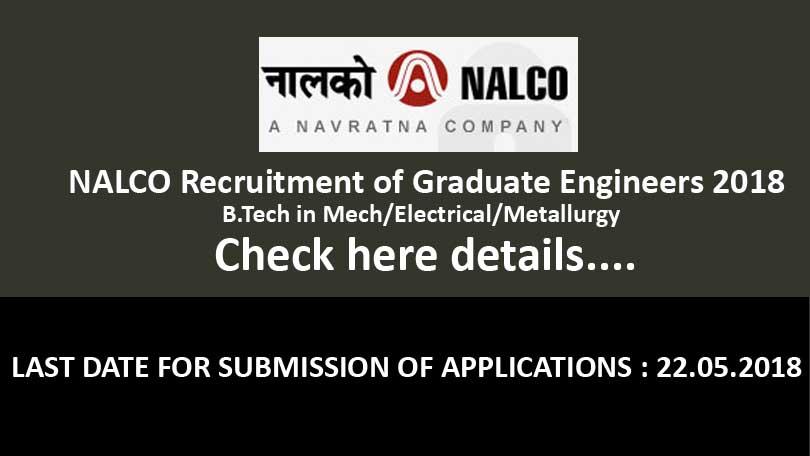NALCO Recruitment of Graduate Engineers 2018 through Gate