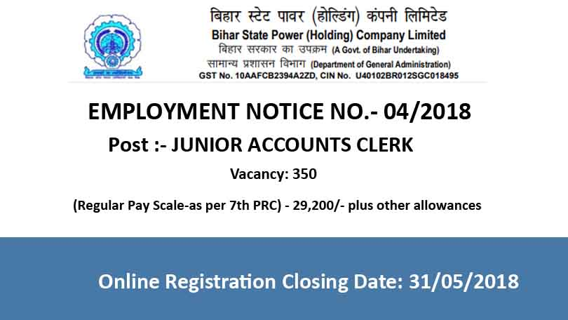 BSPHCL Junior Accounts Clerk Recruitment 2018