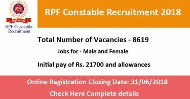 RPF Constable Recruitment 2018