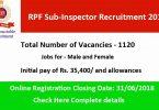 RPF Sub-Inspector Recruitment 2018
