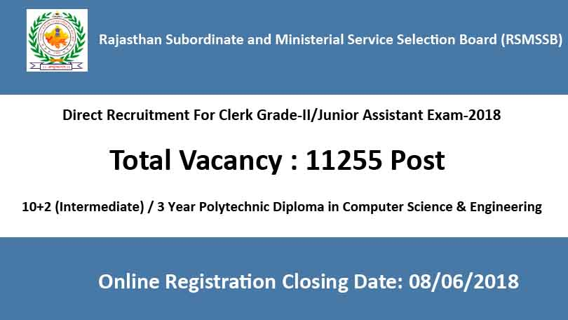 Rajasthan RSMSSB LDC, Junior Assistant Recruitment Online Form 2018