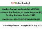 Madhya Pradesh Madhya Kshetra (MPMK) recruitment 2018
