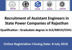 Recruitment of Assistant Engineers in State Power Companies of Rajasthan