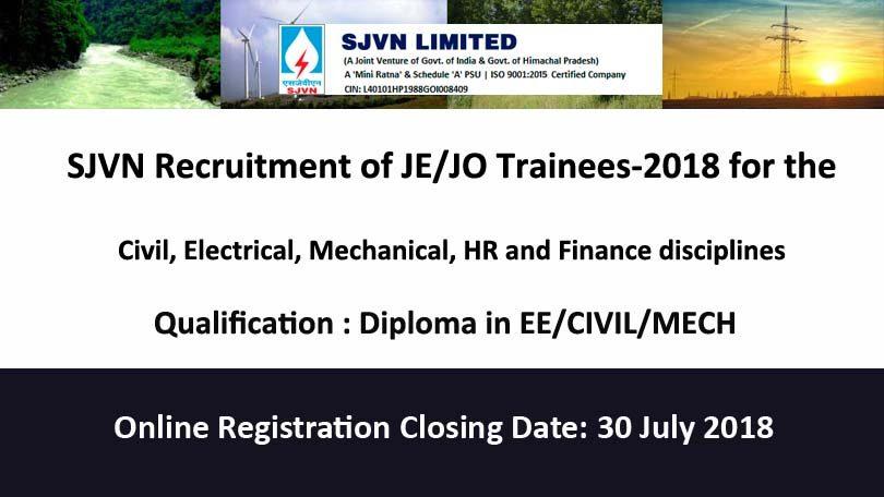 SJVN Recruitment 2018